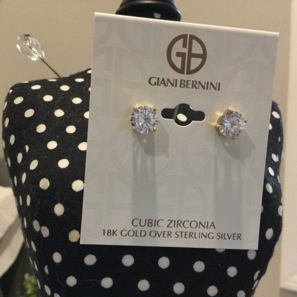 Earrings CZ, 18k gold over sterling silver